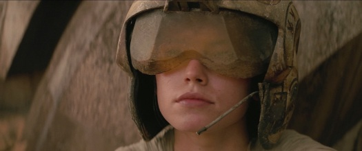 Rey wearing helmet
